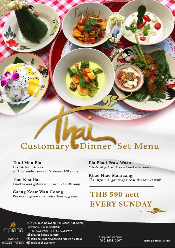 Thai set menu sunday A4